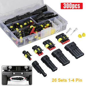 26 Sets 1 4 Pin Electrical Wire Connector Plug Set Waterproof Automotive Plug