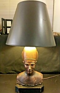 Vintage Egyptian Pharaoh Queen Bronzed Revival Art Deco Table Desk Lamp Haruil
