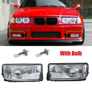 For Bmw E36 92 98 M3 318 325 Bumper Driving Fog Lights Clear Lens Housing Case