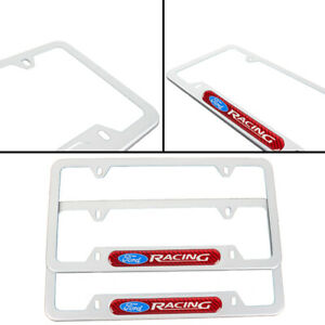 X2 Ford Racing Silver Metal License Frame Stainless Steel Red Carbon Emblem
