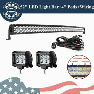 700w 52inch Curved Led Light Bar Offroad 4 Pods Free Harness For Jeep Ford
