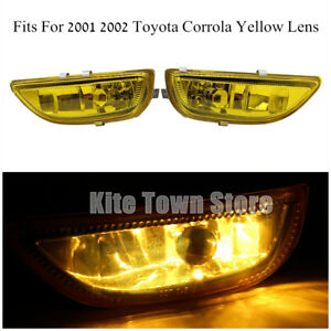 Pair Fog Lights Yellow Clear Lens Front Drive Lamp For 2001 2002 Toyota Corolla