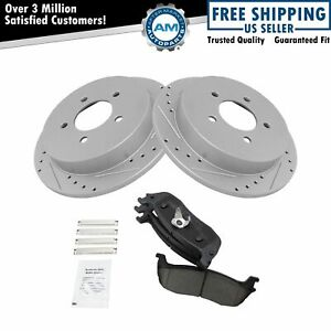 Rear Performance Drilled Slotted Brake Rotor Ceramic Pad Set For Ford