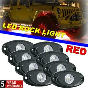 8x Red Style Rgb Led Rock Lights Underbody Car Decor Lighting Bright Signal Lamp