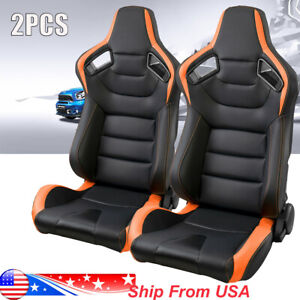 2pc Car Racing Bucket Seats Tan Brown Leather Recline Seats W 2 Slider Universal
