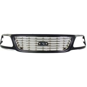 Grille For 2001 2003 Ford F 150 Black Shell W Chrome Insert Plastic