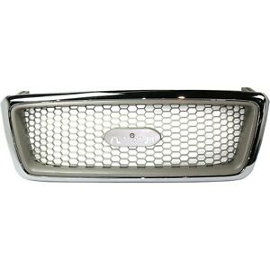 Grille For 2004 2008 Ford F 150 Chrome Shell W Beige Insert Plastic