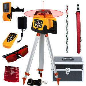 500m Self leveling Red Laser Level 360 Rotating Rotary W Tripod Staff