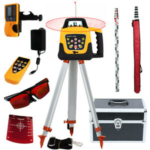 Samger Automatic Self Levelling Rotating Red Rotary Laser Level 5m Tripod Staff