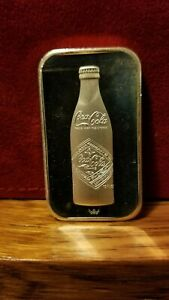 COCA COLA 75th YEAR ANNIVERSARY BOTTLE SILVER BAR .999 FINE SILVER