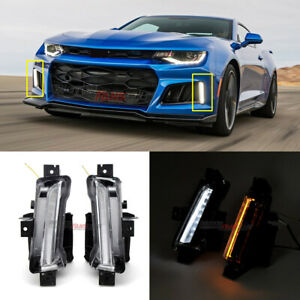 For Chevy Camaro Zl1 2016 18 2dr Drl Fog Light Clear W Amber Switchback Signal