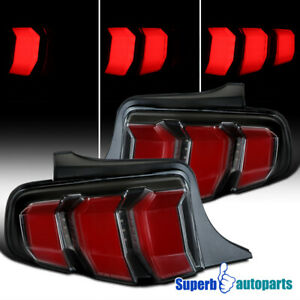 For 2010 2012 Ford Mustang Black Tail Lights Sequential Led Signal W Red Bar