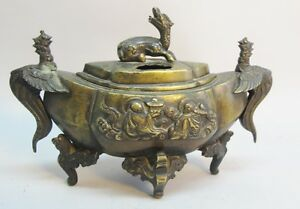 Very Fine Chinese Qing Dynasty Bronze Censor Incense Burner C 1890 Sculpture