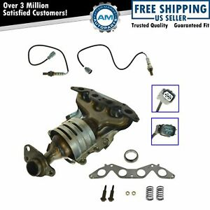 Exhaust Manifold Catalytic Converter Oxygen Sensor Kit For 01 03 Honda Civic 1 7