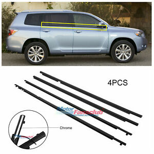 4x For Toyota Highlander 2008 2013 Auto Outside Door Window Weatherstrip Chrome