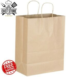 Natural Brown Kraft Paper Shopping Bags With Handle 13 X 7 X 17 250 Bundle