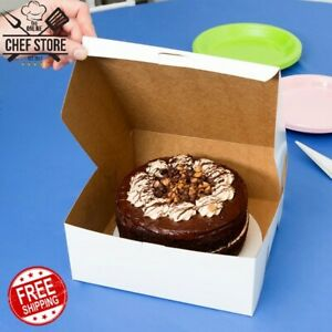 100 Pack 10 X 10 X 4 White Square Paperboard Cake Bakery Box Non Corrugated
