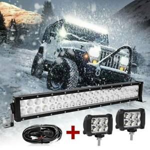22inch Led Light Bar Flood Spot 4 Pods For Offroad Suv Atv Utv 4wd wiring Kit