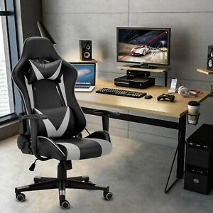 Racing Gaming Chair Ergonomic Leather Swivel Office Computer Desk Seat Blue