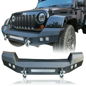 Full Width Front Bumper W Led Light D rings For 2007 2018 Jeep Wrangler Jk