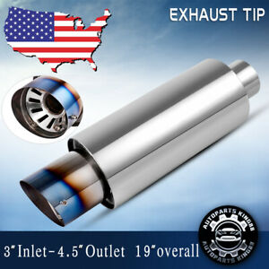 Universal Stainless Steel Car Exhaust Turbine Muffler Resonator 3 In 4 Out