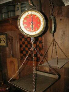 Antique Hanging Produce Scale Red Face J Chatillon