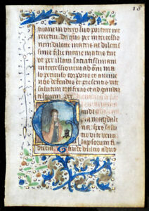 Mary Magdalene Medieval Illuminated Manuscript Book Of Hours Leaf C 1450
