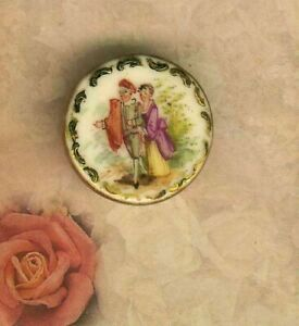 Romantic Couple Strolling On Porcelain With Gold Encrusted Border Signed K P