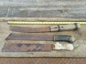 Lot Of 3 Primitive Antique Machete Old Vtg Corn Knife Farm Barn Tools
