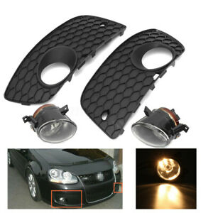 For Vw Golf Jetta Mk5 06 09 Front Bumper Lower Grille H11 Fog Lights Lamp