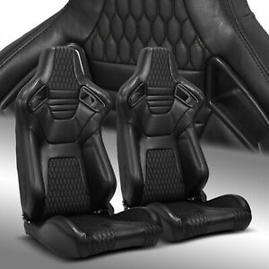 Reclinable Main Black Pvc Leather Stitching Racing Bucket Seats Left Right