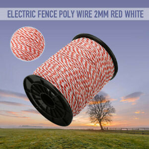 500m Electric Fence Poly Wire White Red Steely Rope For Fencing Low Resistance