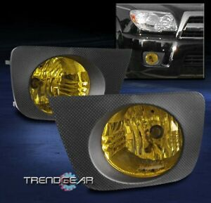 For 2006 2009 Toyota 4runner Bumper Driving Fog Lights Lamps Yellow Lens W bezel