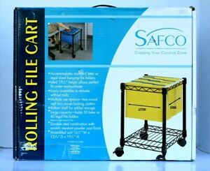 Safco Metal Rolling File Cart On Wheels Black