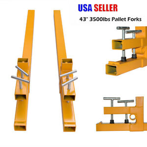 Clamp On Pallet Forks 3500lbs Tractor Bucket Skidsteer Tractor W stabilizer Bar