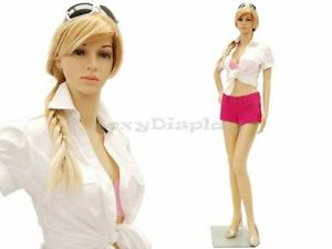 Female Plastic Unbreakable Mannequin Display Dress Form Display ps g1 free Wig