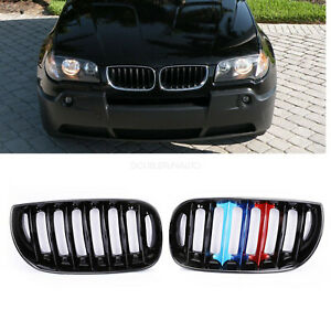 Front Bumper Grille Grill For Bmw E83 X3 04 06 M Color Gloss Black Pre Facelift