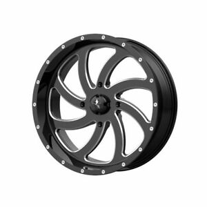 Four 4 22x7 Msa Offroad Wheels Switch Et 0 Black Milled 4x156 Wheels Rims
