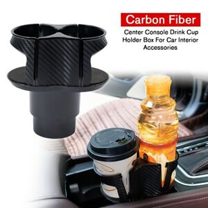 For Car Interior Parts Carbon Fiber Center Console Drink Cup Holder Box Useful