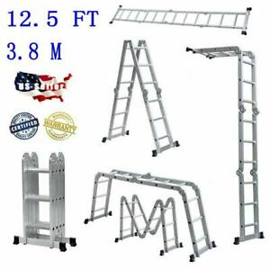 New 12 5ft Multi purpose Aluminum Ladder Folding Step Ladder Scaffold Extendable