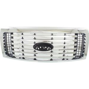 Grille For 2010 2012 Ford F 150 Chrome Shell W Black Insert Plastic