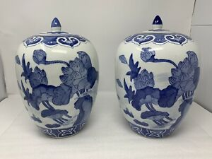 Pair Of Blue White Vintage Chinese Porcelain Melon Vases Qianlong Period Make