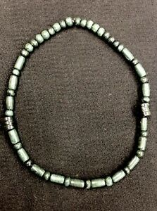 Nice Pre Columbian Mayan Jade Stone Bead Necklace 26 Long