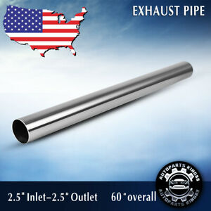 2 5 63mm 5 Ft Exhaust Stainless Steel T409 Straight Pipe Tube Piping Tubing
