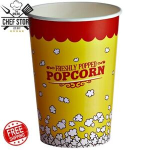 500 Pack 46 Ounce Round Paper Movie Theatre Concession Popcorn Cups Yellow