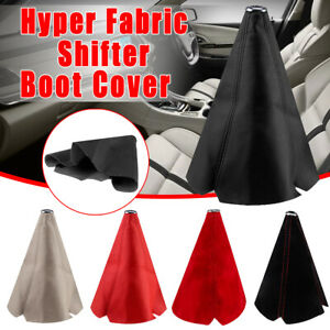 Universal Hyper Fabric Gear Shift Knob Shifter Boot Cover Flannel Pu Leather Car