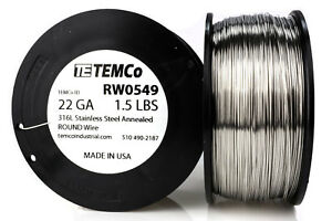Temco Stainless Steel Wire Ss 316l 22 Gauge 1 5 Lb Non resistance Awg Ga