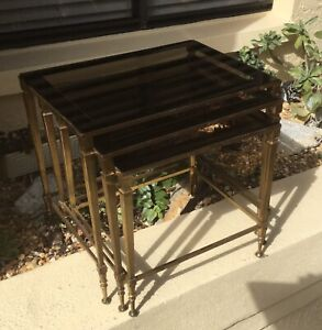 Cool Vntg Hollywood Regency Brass Mirror Glass Nesting Stacking Tables