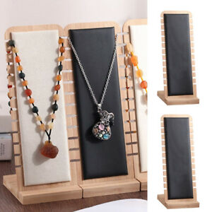 2pc Black Necklace Display Stand L shape Pendant Holder Rack Leather Surface