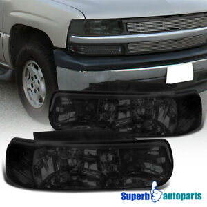 For 1999 2002 Silverado Diamond Headlights Head Lamps Smoked Tahoe Suburban
